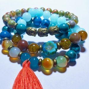 Jade turquoise Gemstone boho bracelet stack
